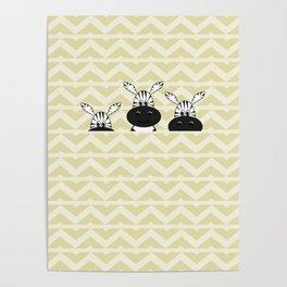 Cute hiding zebras Poster