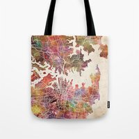 sydney Tote Bags featuring Sydney by MapMapMaps.Watercolors