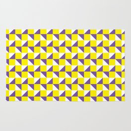 Yellow Purple and White Geometric Pattern Rug