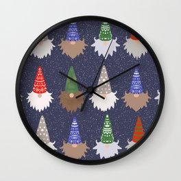 Gnomes Navy Wall Clock