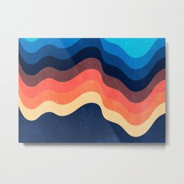 Retro 70s and 80s Color Palette Mid-Century Minimalist Abstract Art Waves Dark Mode Metal Print
