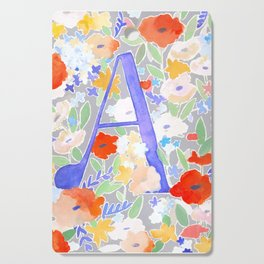 Watercolor Floral Poppy Monogram Letter A Cutting Board