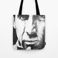 nicolas cage Tote Bags featuring Nicolas Cage by DeMoose_Art