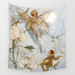 """Fairies Mid Sweet Peas"" by Margaret Tarrant Wall Tapestry"