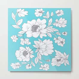 Floral in Turquoise Metal Print