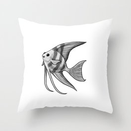 Silver Striped Angelfish Throw Pillow