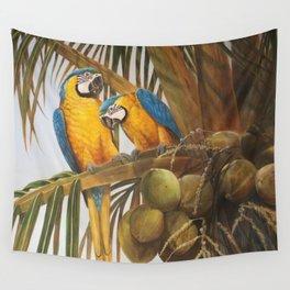Pina Colada Paradise, Blue & Gold Macaws Wall Tapestry