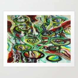 Through the Vine Abstract Watercolor Rasta Painting Art Print
