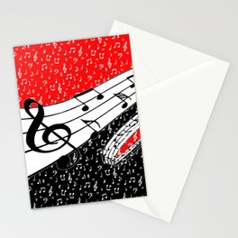 Red and black music theme Stationery Cards