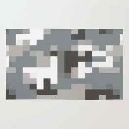 Army Camouflage Pixelated Pattern Snow Mountain Rug