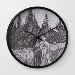 Vincent van Gogh - Cypresses-way with lovers - The garden of the poet IV Wall Clock