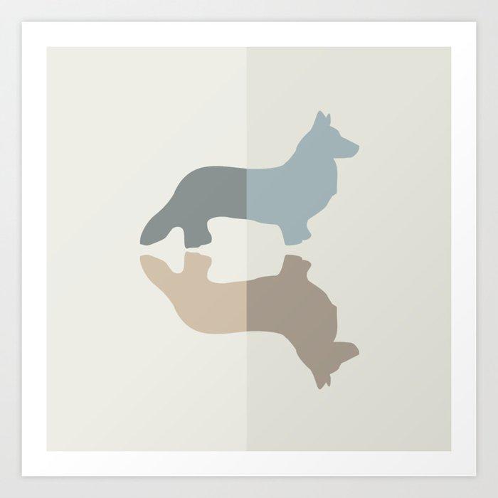 Welsh Corgi Pattern - Natural Colors Kunstdrucke