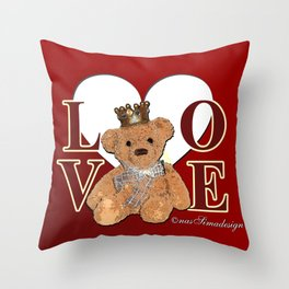 Teddy in Love Throw Pillow