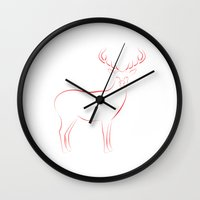 reindeer Wall Clocks featuring Reindeer by George Williams