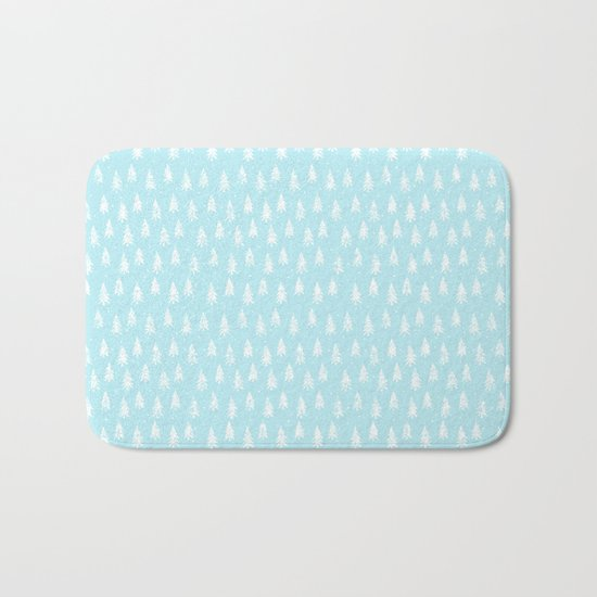 Merry christmas- abstract winter pattern with white trees and snow Bath Mat