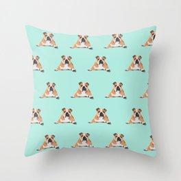 English Bulldog Pattern - Green Throw Pillow