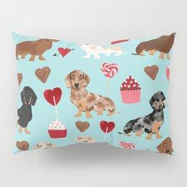Dachsund dachsie doxie valentines day valentine hearts love cupcakes cute dog gifts Pillow Sham