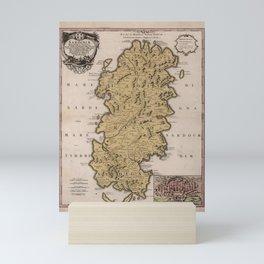 Vintage Map of Sardinia Italy (1734) Mini Art Print