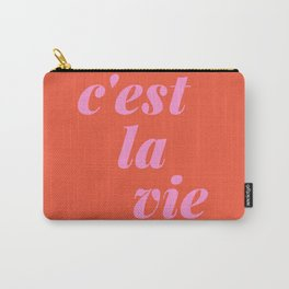 C'est La Vie French Language Saying in Bright Pink and Orange Carry-All Pouch