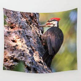Pileated Woodpecker at Work Wall Tapestry