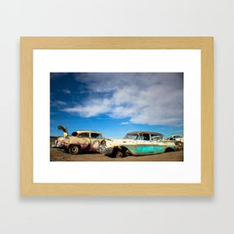 Salvage Yard Cars Framed Art Print