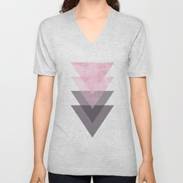 Pink and Grey Geometric Art Unisex V-Neck