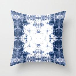 Shibori Tie Dye 5 Indigo Blue Throw Pillow