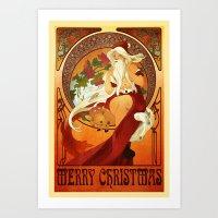 mucha Art Prints featuring Mucha Santa by Nic Carey