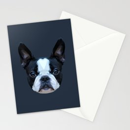 Frenchie / Boston Terrier // Navy Stationery Cards