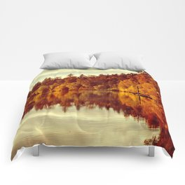 RIVER AUTUMNAL REFLECTION Comforters