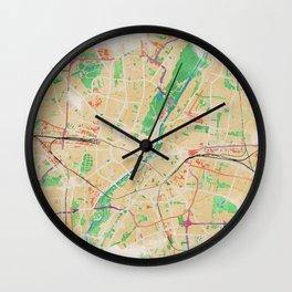 Munich in Watercolor Wall Clock