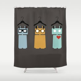 Robots on hangers - red heart Shower Curtain