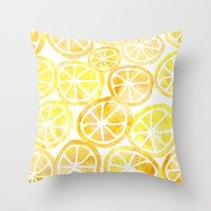 Yellow lemon in watercolor Throw Pillow