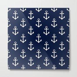Navy Blue Nautical Anchors Pattern Metal Print