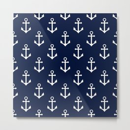 Navy Blue Nautical Anchor Pattern Metal Print