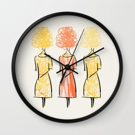 Girls on the Street Drawing Wall Clock