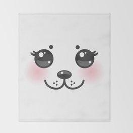 Kawaii funny albino animal white muzzle with pink cheeks and big black eyes Throw Blanket