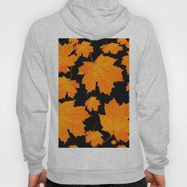 Orange Maple Leaves Black Background #decor #society6 #buyart Hoody