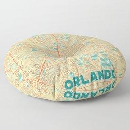 Orlando Map Retro Floor Pillow