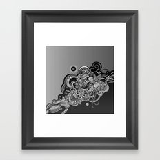Detailed diagonal tangle, Black Framed Art Print