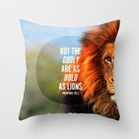 narnia Throw Pillows featuring BOLD AS LIONS by Pocket Fuel