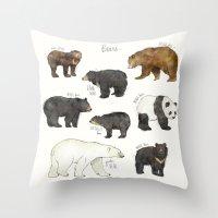 bears Throw Pillows featuring Bears by Amy Hamilton