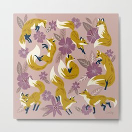 Foxes & Blooms – Lavender Palette Metal Print