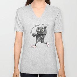 Running owl Unisex V-Neck