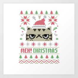Cat Meh Christmas Art Print