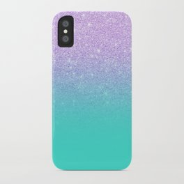 Modern mermaid lavender glitter turquoise ombre pattern iPhone Case