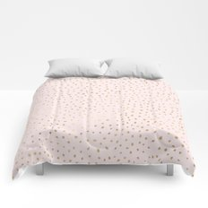 Dotted Gold & Pink Comforters