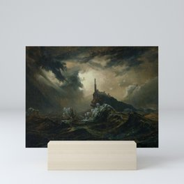 Carl Blechen - Stormy Sea with Lighthouse - German Romanticism - Oil Painting Mini Art Print