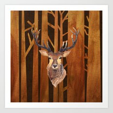 Proud deer in forest 1- Watercolor illustration Art Print