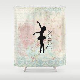 Dance Ballerina on Vintage Background Shower Curtain